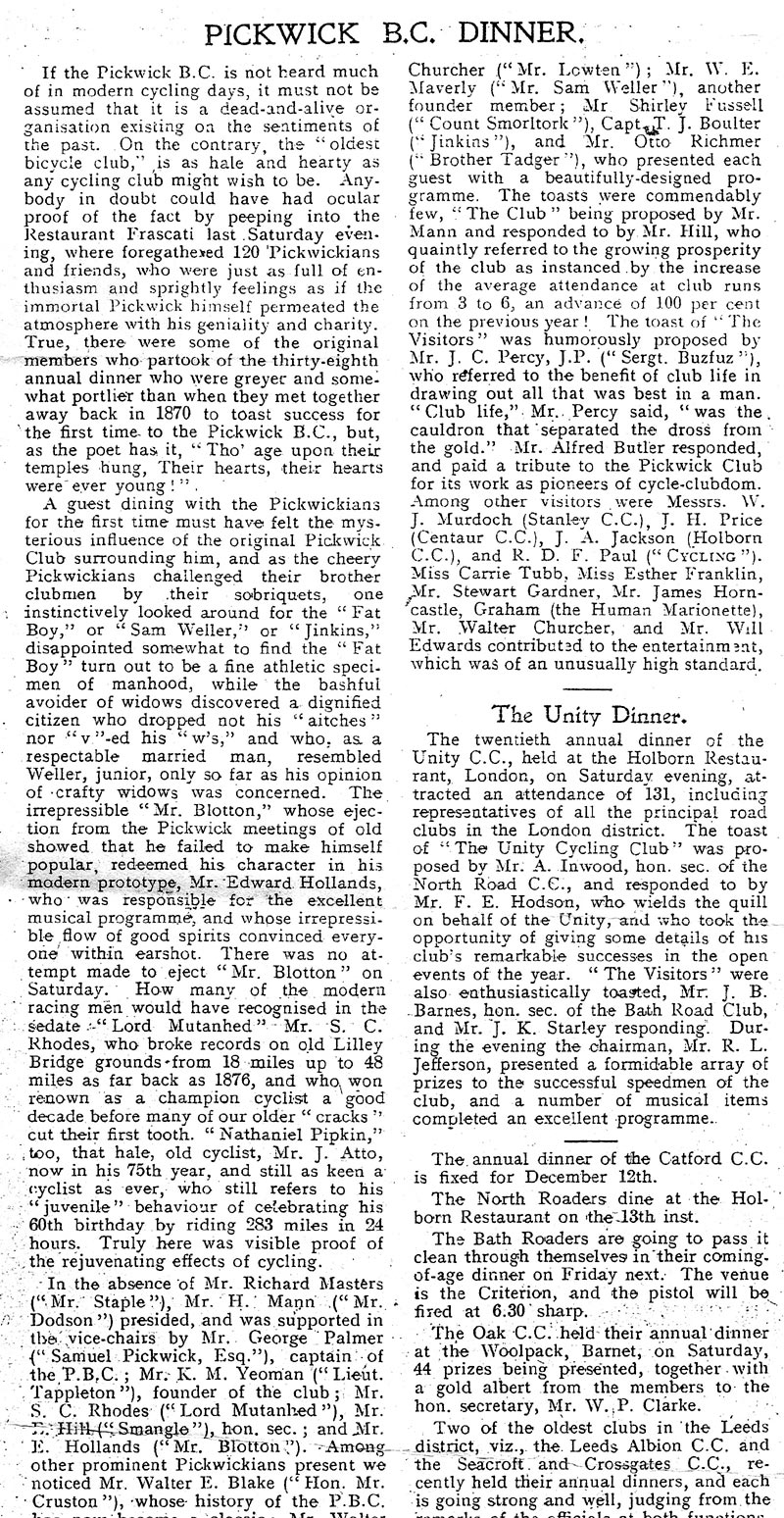 Press report of Annual Dinner 1907